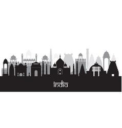 india landmarks skyline in black and white vector image