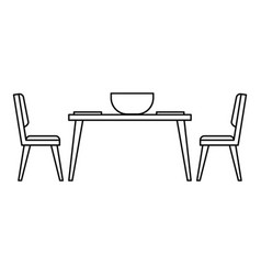 Kitchen table and chair icon outline style vector