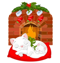 Kitten near Fireplace vector