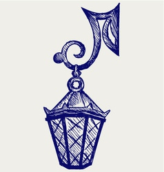 Lantern from the forged metal vector