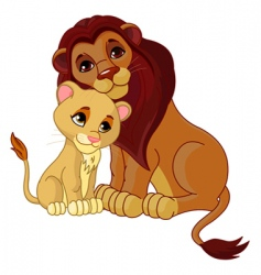 Lion and cub together vector