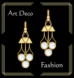 Luxury art deco filigree earrings jewel with rare vector