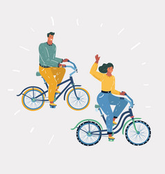 Man and woman cyclists spending nice time together vector