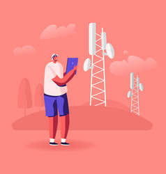 Man with tablet pc stand near transmission tower vector