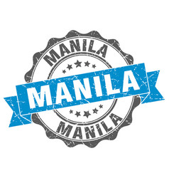 Manila round ribbon seal vector