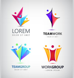 Men group logo human family teamwork vector