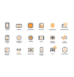 mobile device components icon set vector image