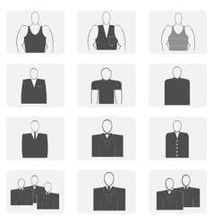 Monochrome icon set with male silhouette vector
