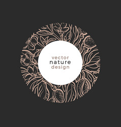 Nature in circle flora organic plant vector