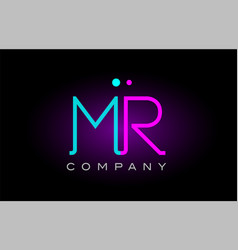 neon lights alphabet mr m r letter logo icon vector image