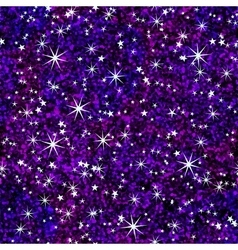 Night sky seamless pattern with bright stars vector