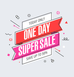 One day super sale banner template in flat trendy vector