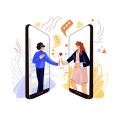 Online friends support flat concept two vector
