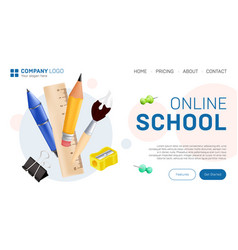 online school landing page graphic design vector image