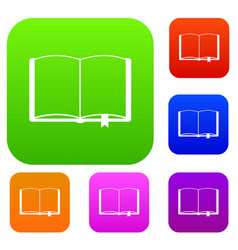 open book with bookmark set collection vector image