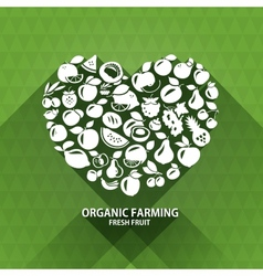 Organic food icons Heart shape with organic vector
