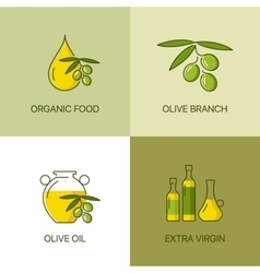 Organic olive thin line color logo concept vector