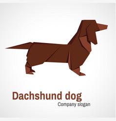 Origami logo dachshund dog vector