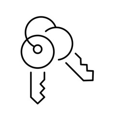 Outline simple keys on ring icon vector
