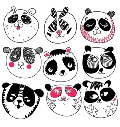 Panda head doodle set on white background vector image