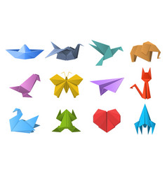 paper origami shapes origami polygonal paper vector image