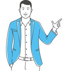 Positive manager gesturing outline vector