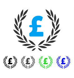 Pound laurel wreath flat icon vector