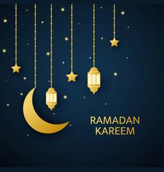 ramadan kareem greetings card golden lanterns vector image