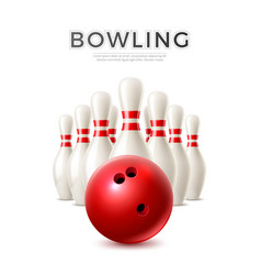 realistic bowling ball and skittle pins vector image