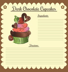 Recipe dark chocolate cupcake vector