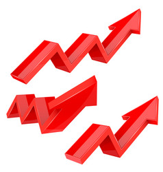 Red indication arrows up rising financial signs vector