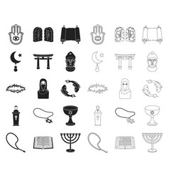 Religion and belief blackoutline icons in set vector