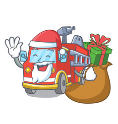 Santa with gift fire truck mascot cartoon vector