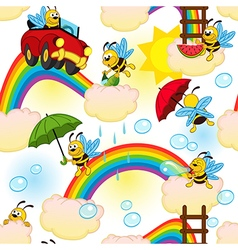 Seamless pattern with bee on rainbow vector