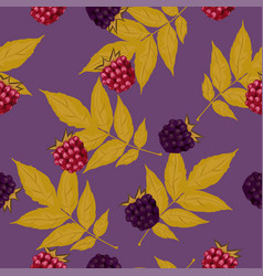seamless pattern with blackberries and raspberries vector image