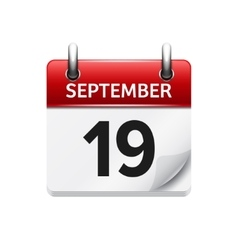 September 19 flat daily calendar icon vector