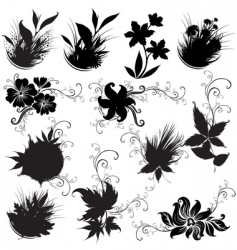 set of black floral design elements vector image