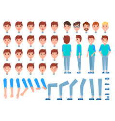 set of man faces body parts male front back side vector image