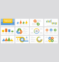 set yellow green orange and blue elements for vector image
