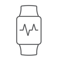 smart watch thin line icon electronic and digital vector image