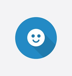 smile Flat Blue Simple Icon with long shadow vector image