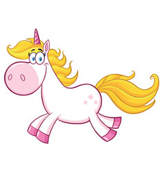 smiling magic unicorn character running vector image
