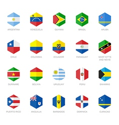 South America and Caribbean Flag Icons Hexagon vector