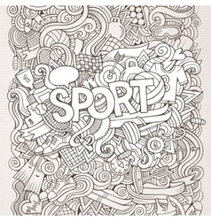 Sport hand lettering and doodles elements vector