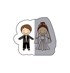sticker colorful caricature married couple vector image