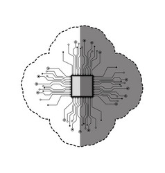 sticker silhouette circuit board and chip vector image