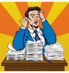 Stressed Man at Work in Pop Art Style vector image