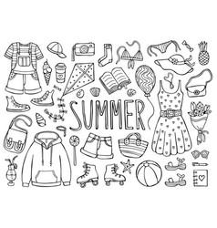 Summer doodle set black elements on white vector