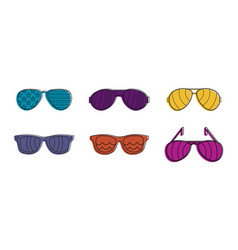 Sunglasses icon set color outline style vector