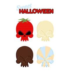 Sweet Halloween Set Sweet skull of white and dark vector image